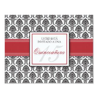SPANISH Cranberry Damask Quinceañera Invitación Card