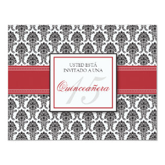 SPANISH Cranberry Damask Quinceañera Invitación 4.25x5.5 Paper Invitation Card