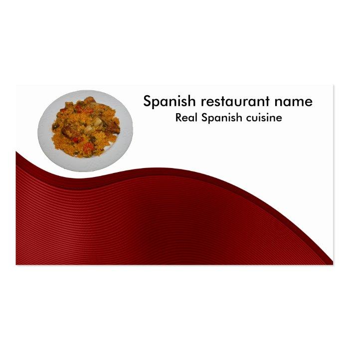 Spanish cuisine business card