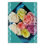 Spanish: Cumpleanos Birthday -teal and lace Greeting Card
