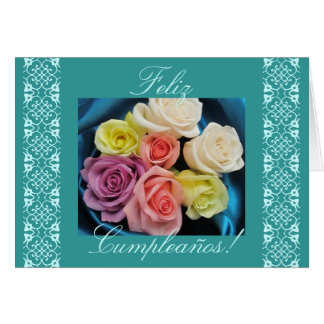 Spanish: Cumpleanos Birthday -teal and lace Card