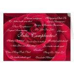Spanish: Cumpleanos rosa roja / Birthday Greeting Card