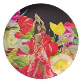 Spanish Dancer Roses Black Background Melamine Plate