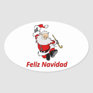 Spanish Dancing Santa Claus Oval Sticker
