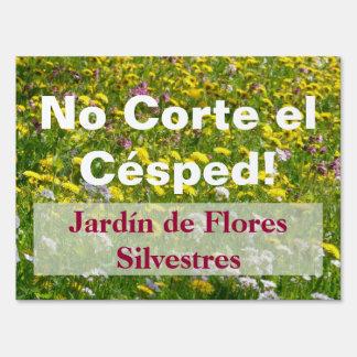 Spanish Do Not Mow Wildflower Garden Sign