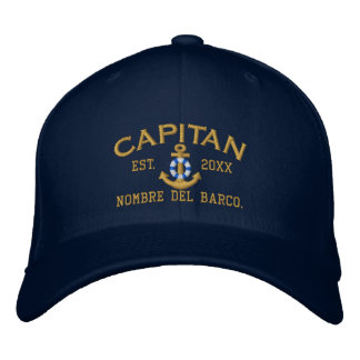 SPANISH El Capitan Lifesaver Anchor with your Name Embroidered Baseball Hat