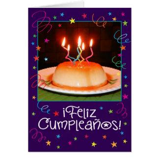 "Spanish/English ""Flan-tastico"" Birthday Card"