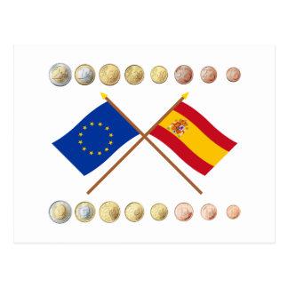 Spanish Euros and EU & Spain Flags Postcard