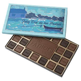 Spanish Fathers Day Blue Boat Art Chocolate Box 45 Piece Assorted Chocolate Box