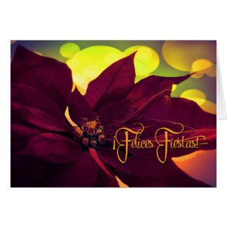 Spanish ¡Feliz Fiestas! Christmas Wine Poinsettia Card