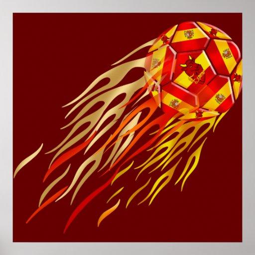 Spanish Fireball soccer futbol lovers soccer ball Poster