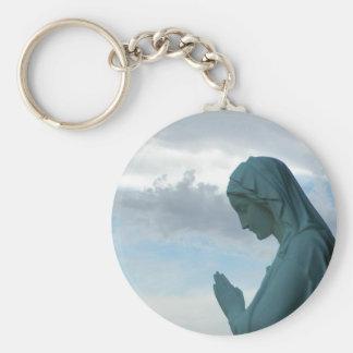 Spanish First Communion Invitation. Lady Praying Keychains