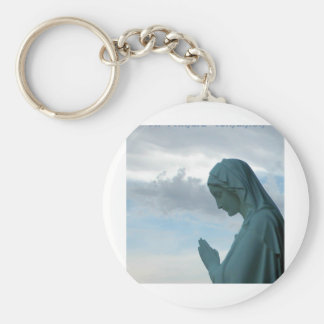 Spanish First Communion Invitation. Lady Praying Keychain