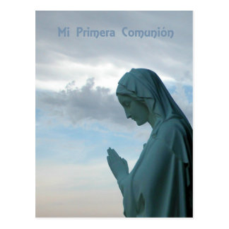 Spanish First Communion Invitation. Lady Praying Postcards