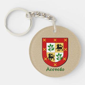 Spanish Flag Acevedo Historical Shield Double-Sided Round Acrylic Keychain