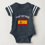 Spanish flag football sports jersey baby bodysuit