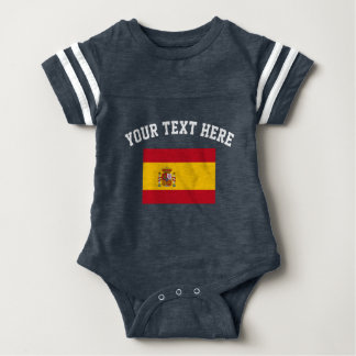 Spanish flag football sports jersey baby bodysuit