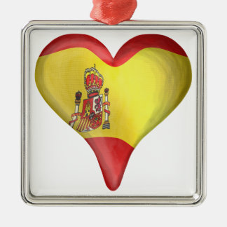 Spanish Flag In A Heart Ornament