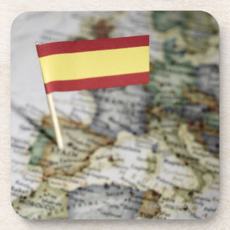 Spanish flag in map drink coaster