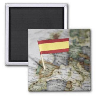 Spanish flag in map magnet