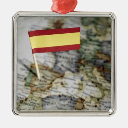 Spanish flag in map metal ornament