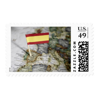 Spanish flag in map stamps