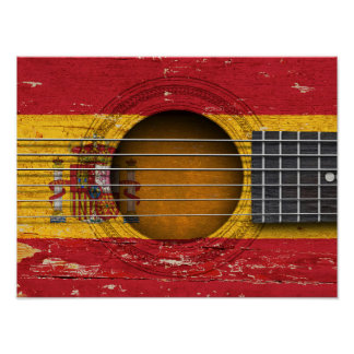 Spanish Flag on Old Acoustic Guitar Poster