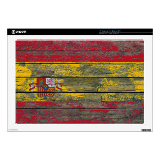 Spanish Flag on Rough Wood Boards Effect Laptop Skin