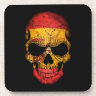 Spanish Flag Skull on Black Coasters