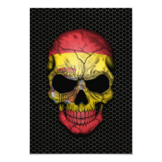 Spanish Flag Skull on Steel Mesh Graphic Announcements