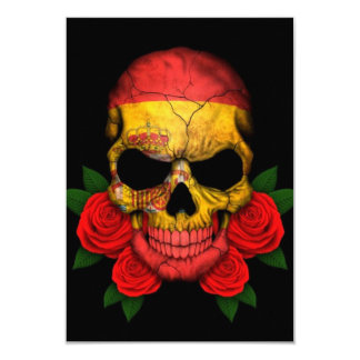 Spanish Flag Skull with Red Roses Personalized Invitation