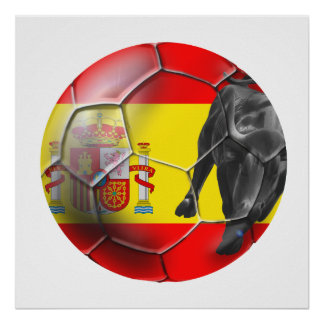 Spanish flag soccer ball Spain soccer gifts Posters