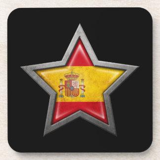 Spanish Flag Star on Black Coasters