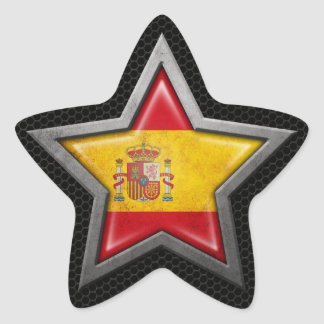 Spanish Flag Star with Steel Mesh Effect Star Sticker