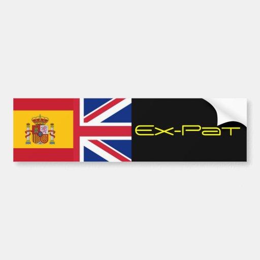 spanish flag, Union Jack  Ex-Pat Bumper Sticker