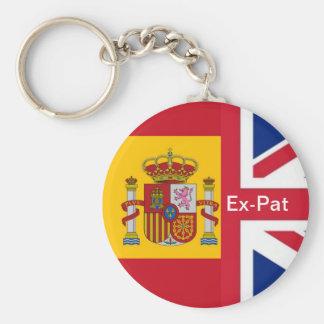 spanish flag, Union Jack Ex-Pat Keychain