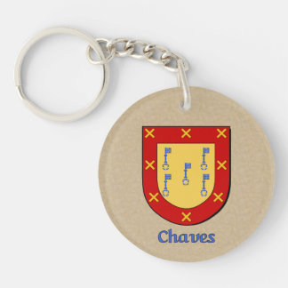 Spanish Flag with Chaves Historical Shield Double-Sided Round Acrylic Keychain
