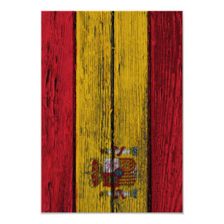 Spanish Flag with Rough Wood Grain Effect Invitations