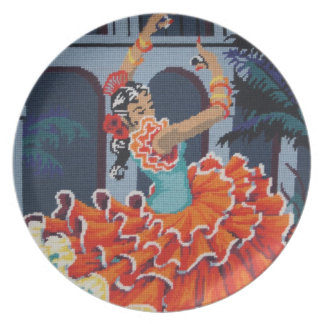 Spanish Flamenco Dancer Plate
