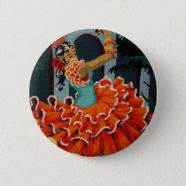 Spanish Flamenco Dancer Sticker Pinback Button
