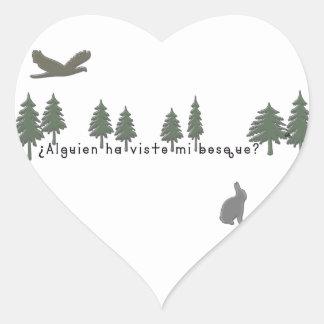 Spanish-Forest Heart Sticker