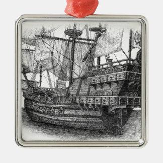 Spanish Galleon Metal Ornament