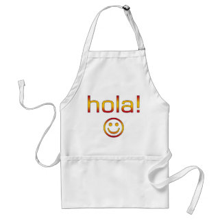 Spanish Gifts : Hello / Hola + Smiley Face Adult Apron
