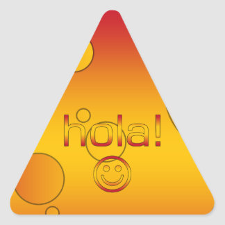 Spanish Gifts : Hello / Hola + Smiley Face Triangle Sticker