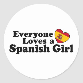 Spanish Girl Classic Round Sticker