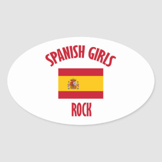 Spanish girls rock DESIGNS Oval Sticker