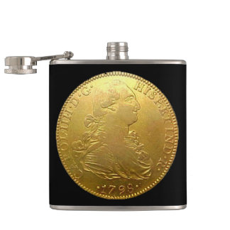 Spanish Gold Doubloon on Black Flask