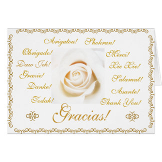 Spanish: Gracias Thank you! 13 languages Stationery Note Card