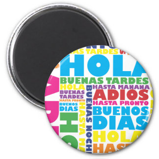Spanish Greetings 2 Inch Round Magnet