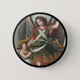 Spanish Guardian Angel and Child Button